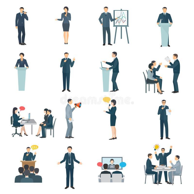 Iconos planos del discurso público fijados ilustración del vector