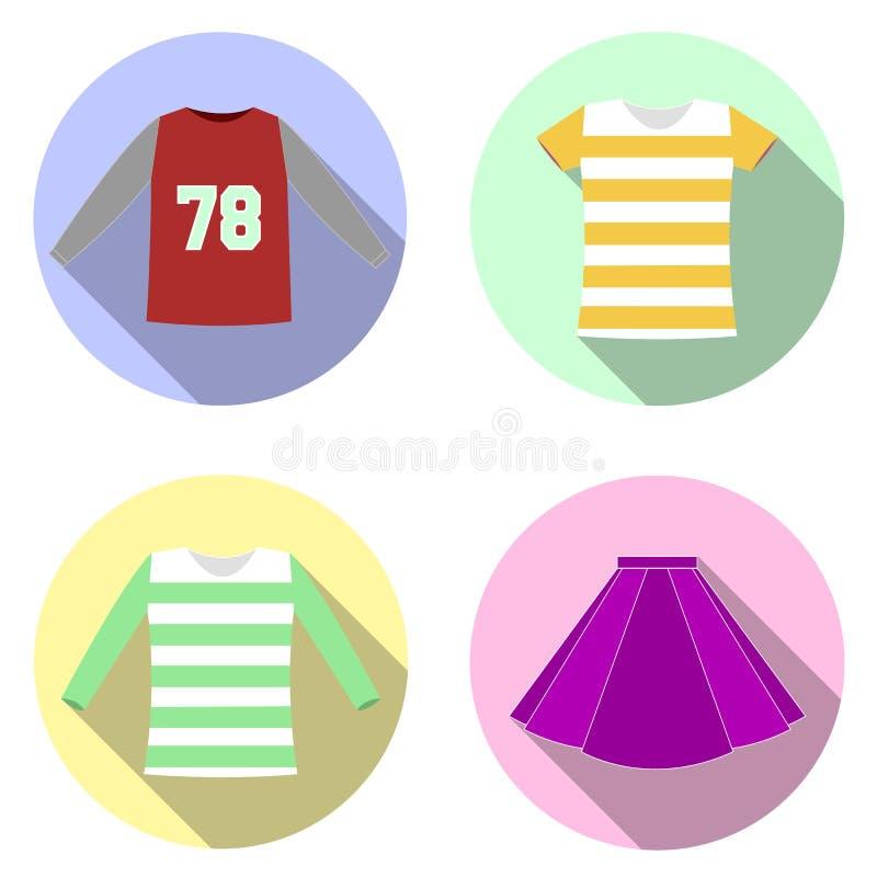 Iconos planos del diseño con ropa fotografía de archivo libre de regalías