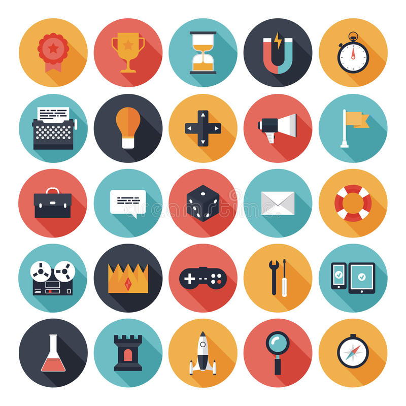 Iconos planos del diseño de juego fijados ilustración del vector