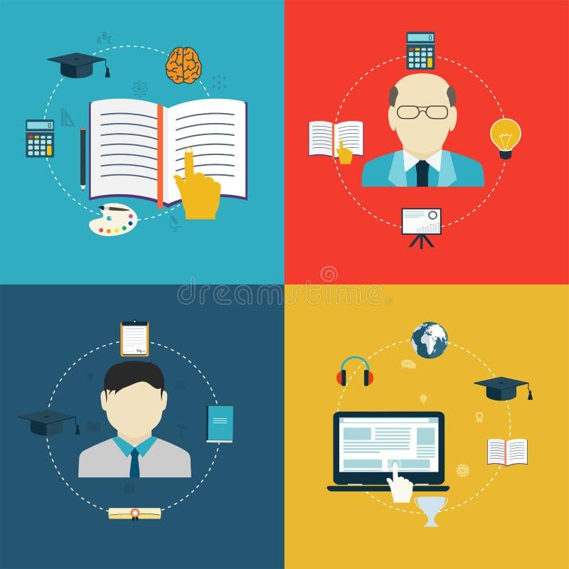 Iconos planos del diseño de la educación, en línea del aprendizaje y de la investigación ilustración del vector