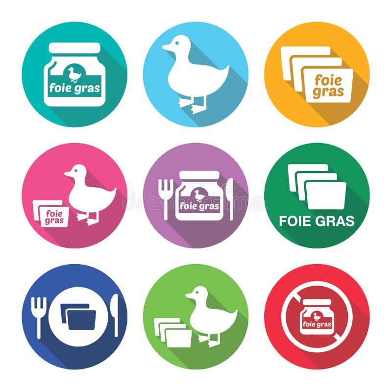 Iconos planos del diseño de los gras, del pato o del ganso de Foie fijados ilustración del vector