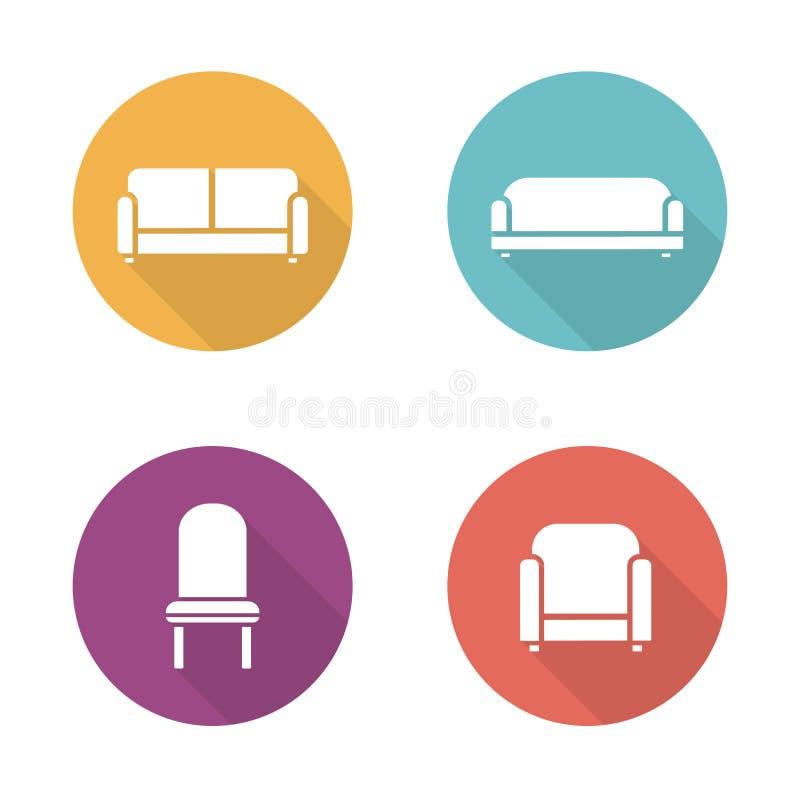 Iconos planos del diseño de los muebles suaves fijados ilustración del vector