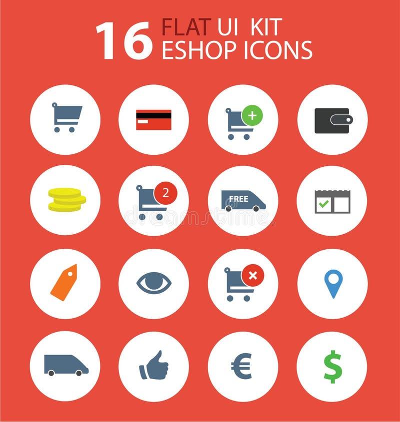 Iconos planos del diseño del eshop del equipo del ui libre illustration