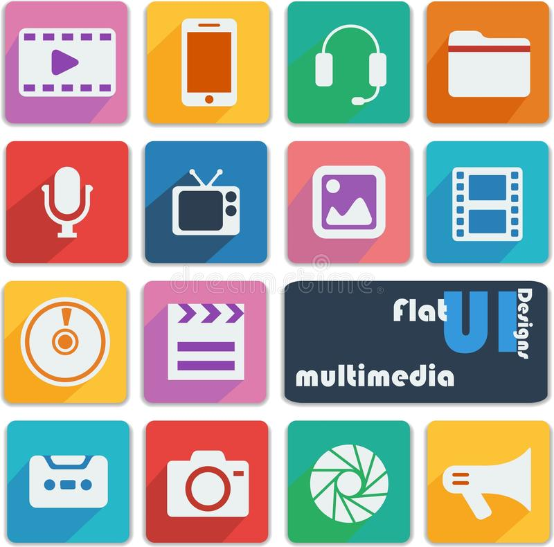 Iconos planos del diseño del ui multimedias libre illustration