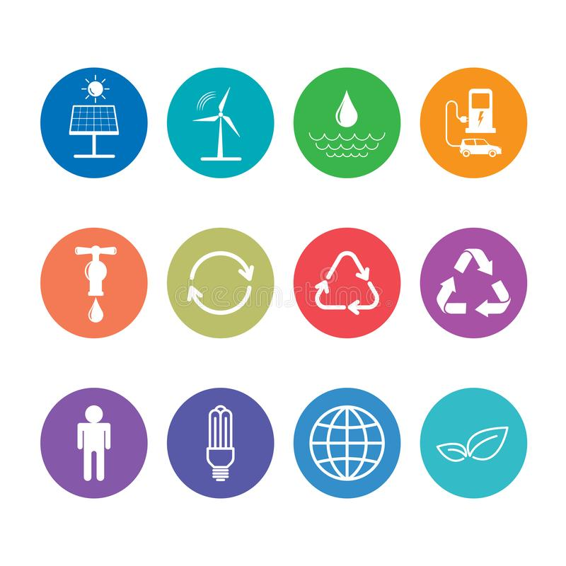 Iconos planos del diseño fijados para la energía y el concepto sostenibles de la ecología stock de ilustración