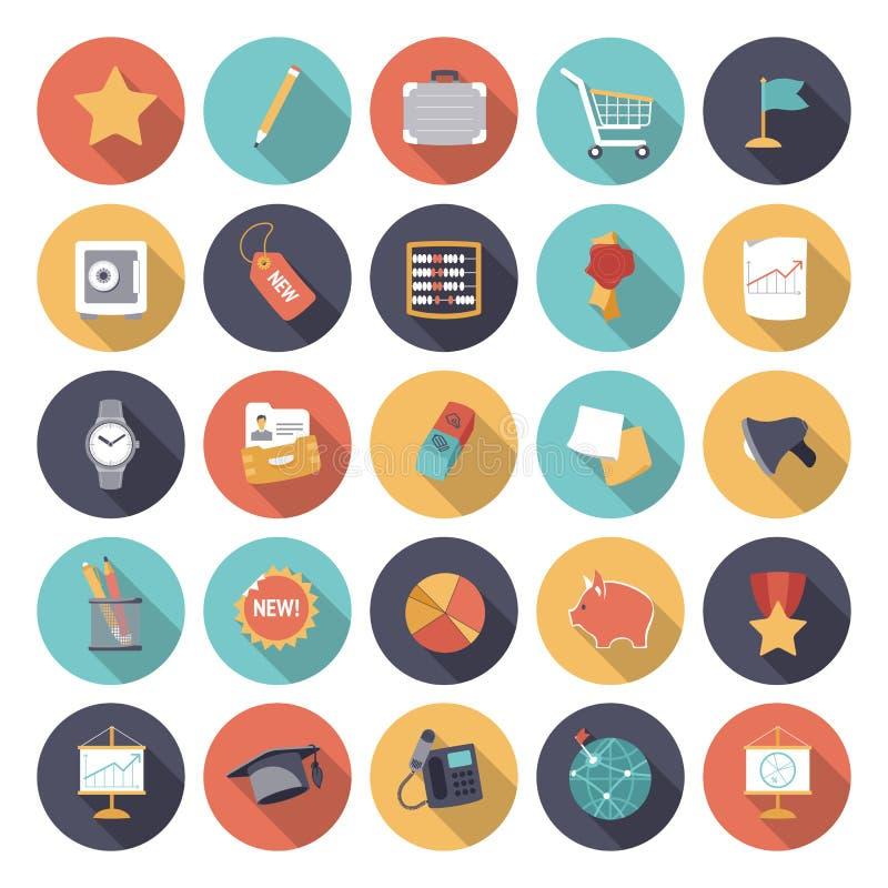 Iconos planos del diseño para el negocio y las finanzas stock de ilustración