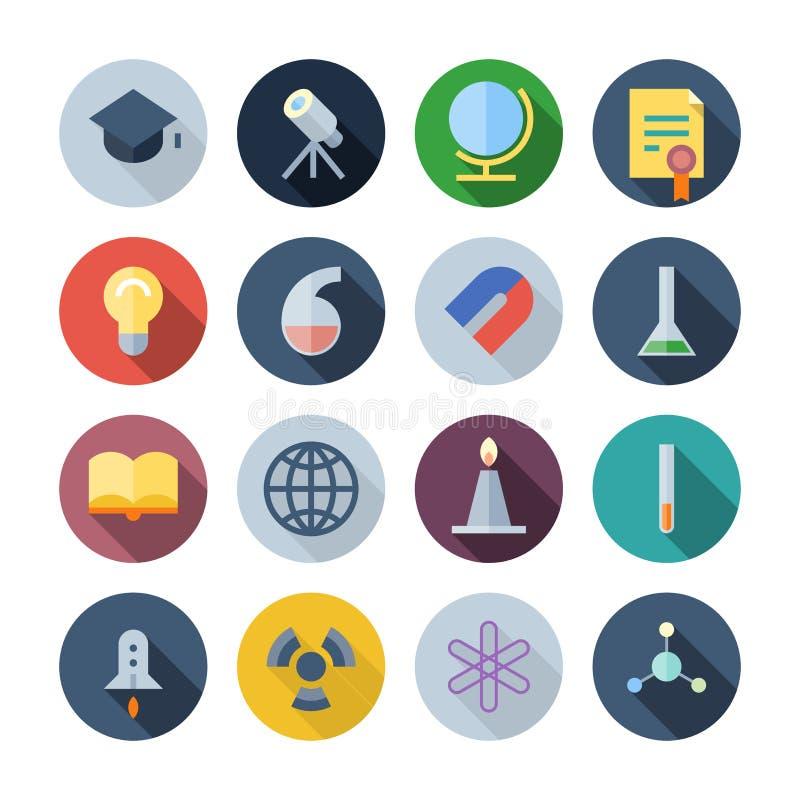 Iconos planos del diseño para la ciencia y la educación ilustración del vector