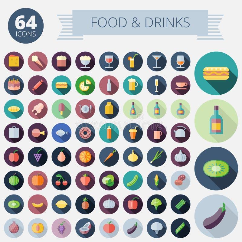 Iconos planos del diseño para la comida y las bebidas