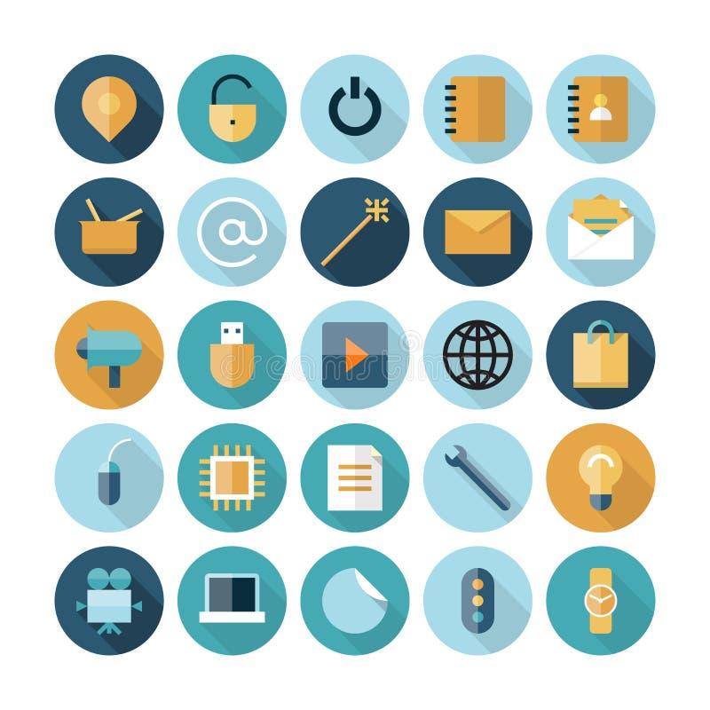 Iconos planos del diseño para la interfaz de usuario ilustración del vector