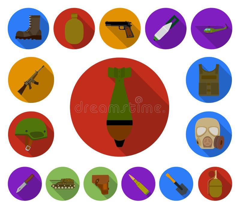 Iconos planos del ejército y del armamento en la colección del sistema para el diseño Las armas y el equipo vector el ejemplo com ilustración del vector