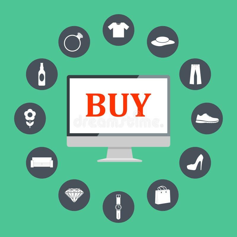 Iconos planos del ejemplo del diseño de los símbolos del comercio electrónico, de los elementos de las compras de Internet y de l stock de ilustración