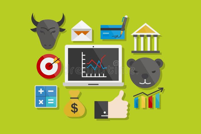 Iconos planos del elemento del ejemplo del vector del diseño de los iconos de las finanzas y del negocio fijados ilustración del vector