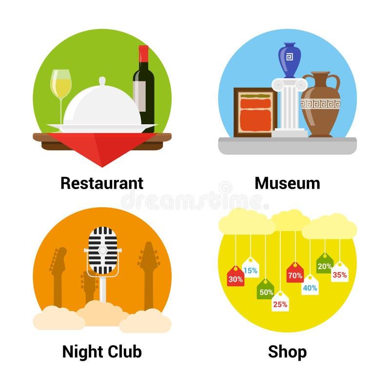 Iconos planos del entretenimiento del estilo libre illustration