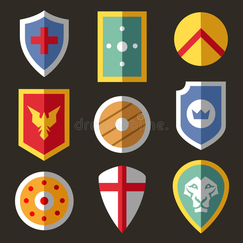 Iconos planos del escudo para el juego ilustración del vector
