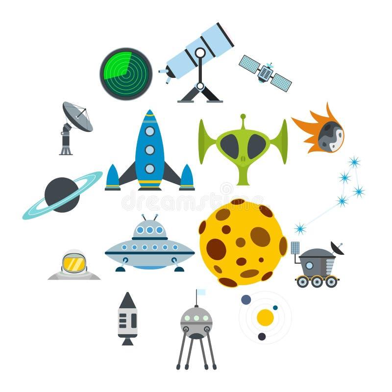 Iconos planos del espacio fijados ilustración del vector