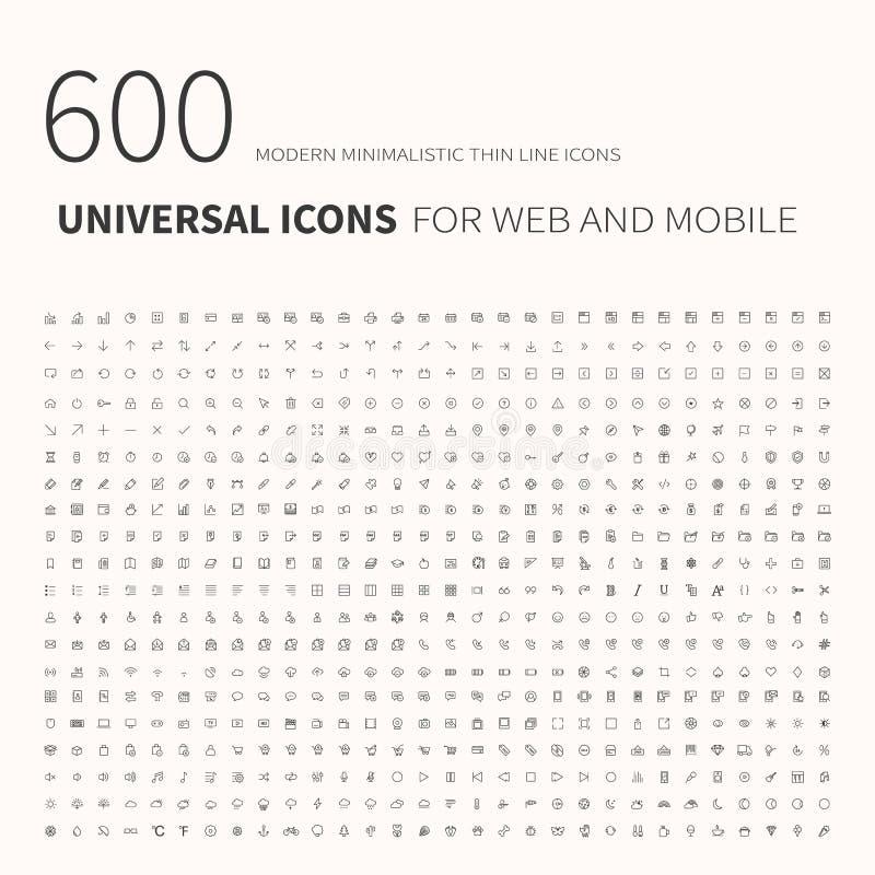 600 iconos planos del esquema simple Fije de los iconos universales para la página web y el móvil Vector plano ilustración del vector