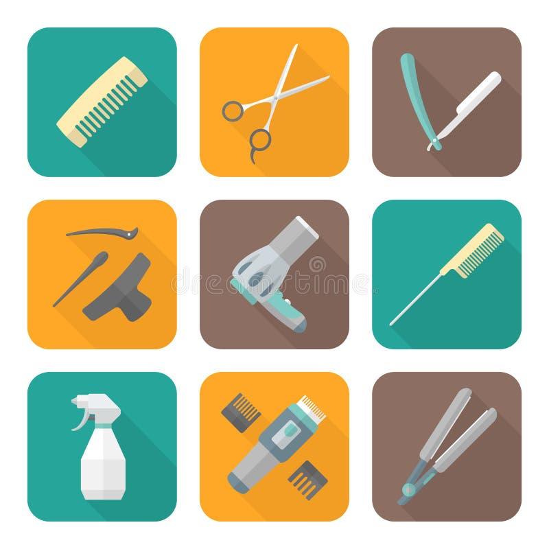 Iconos planos del estilo del color de las herramientas del peluquero fijados stock de ilustración