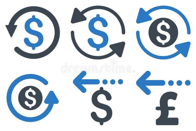 Iconos planos del Glyph del reembolso stock de ilustración
