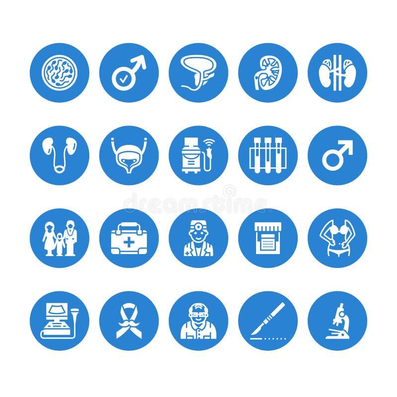 Iconos planos del glyph del vector de la urología Urólogo, vejiga, riñones, glándulas suprarrenales, próstata Pictogramas médicos libre illustration