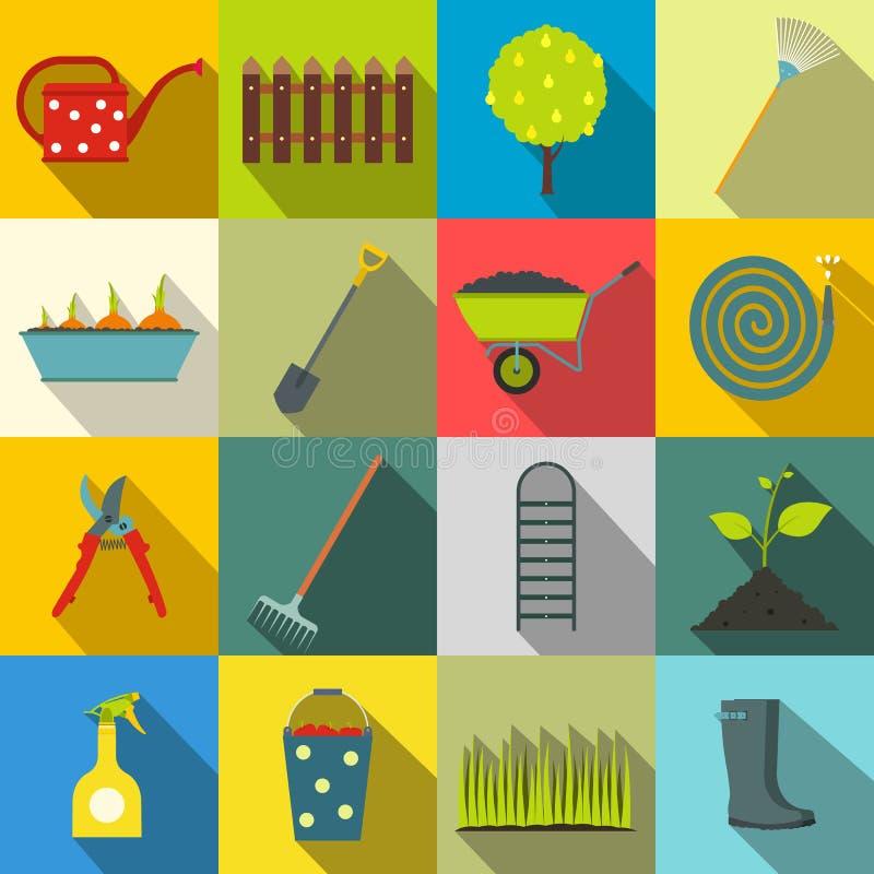 16 iconos planos del jardín fijados stock de ilustración