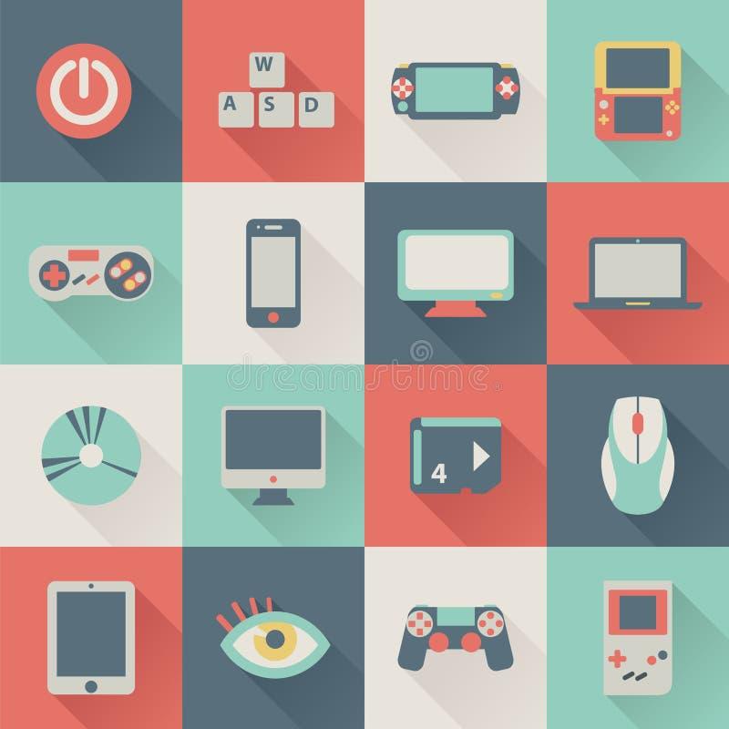 Iconos planos del juego stock de ilustración