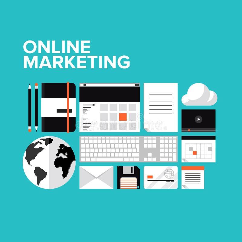 Iconos planos del márketing en línea fijados ilustración del vector