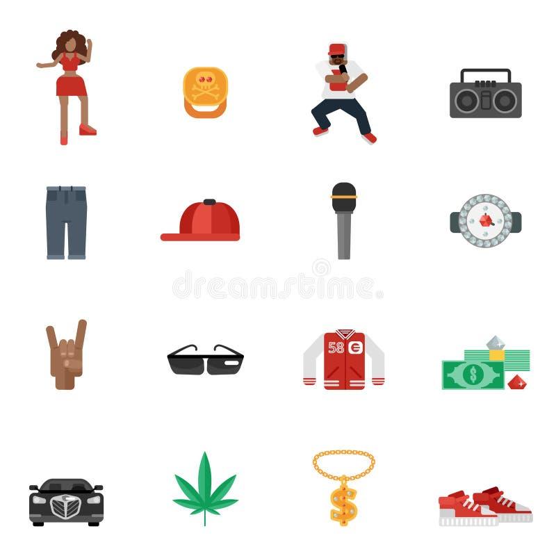 Iconos planos del música rap ilustración del vector