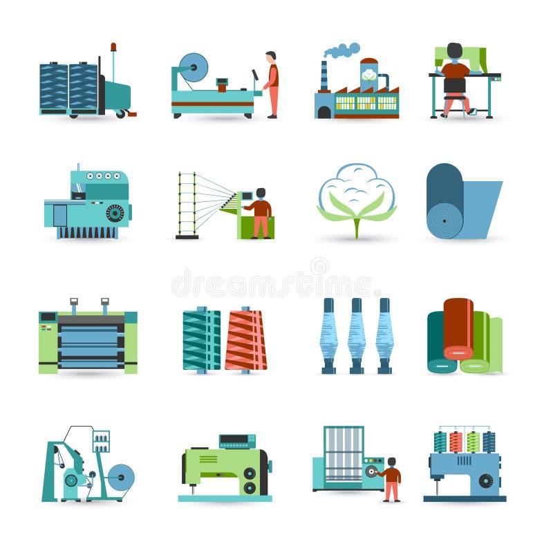 Iconos planos del molino de materia textil fijados libre illustration