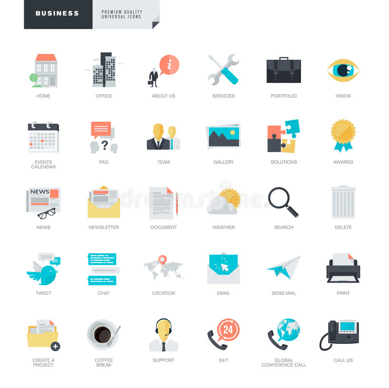 Iconos planos del negocio del diseño para el gráfico y los diseñadores web ilustración del vector