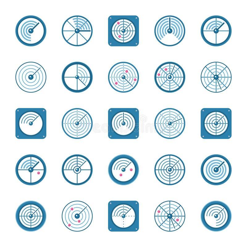 Iconos planos del radar fijados stock de ilustración