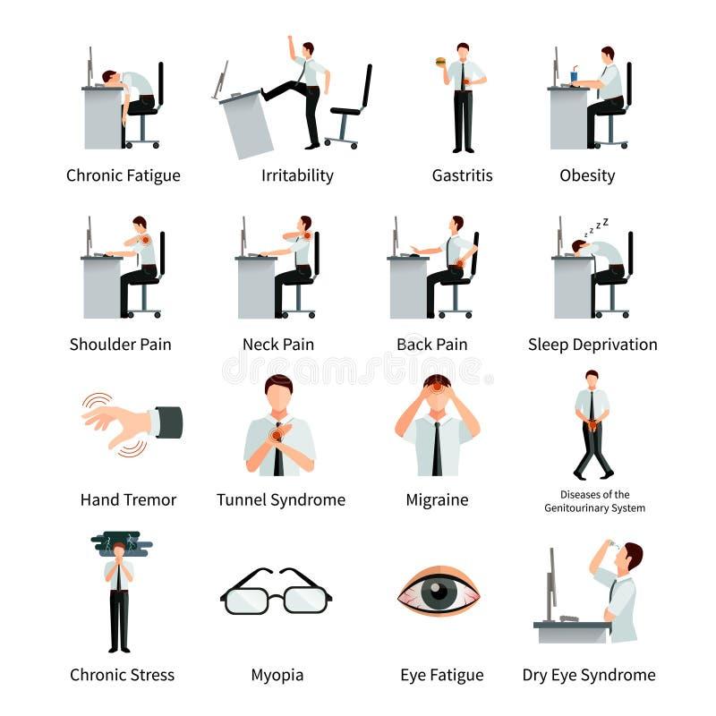 Iconos planos del síndrome de la oficina fijados libre illustration