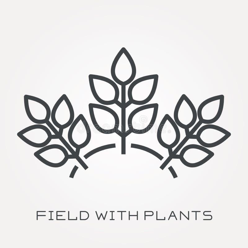 Iconos planos del vector con el campo con las plantas libre illustration