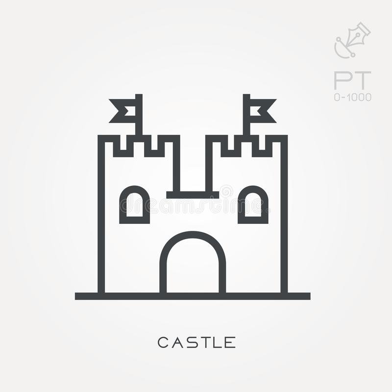 Iconos planos del vector con el castillo libre illustration
