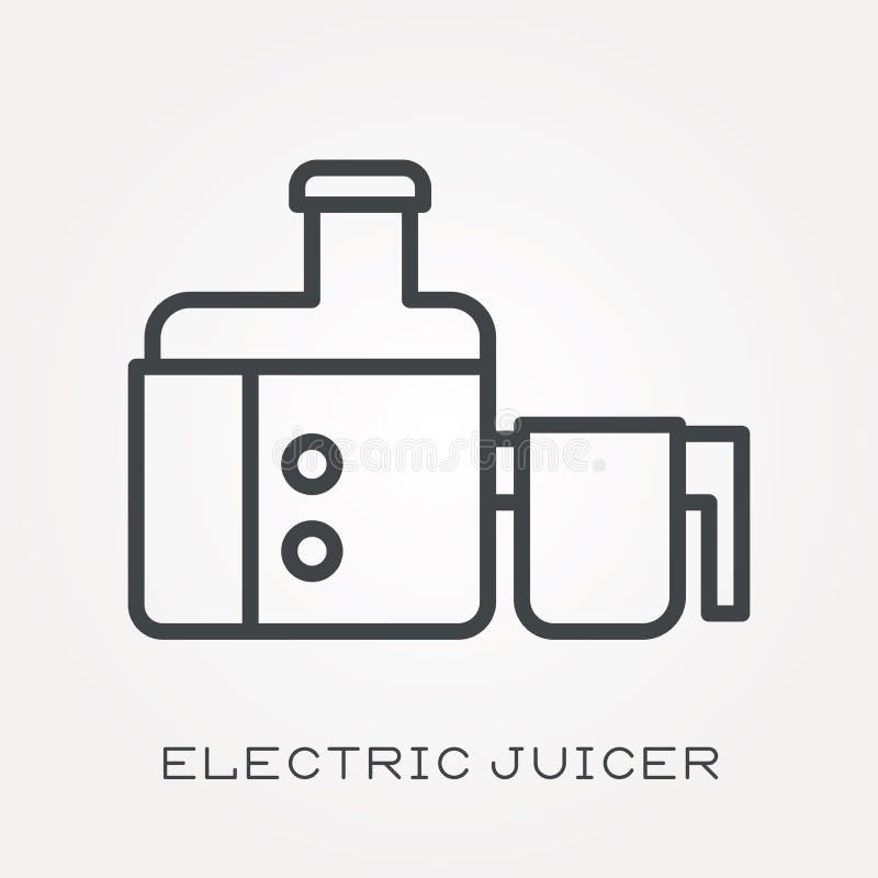 Iconos planos del vector con el juicer eléctrico stock de ilustración