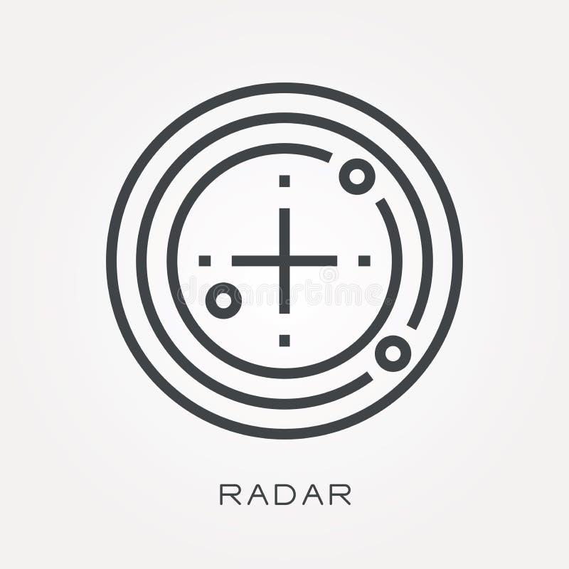 Iconos planos del vector con el radar stock de ilustración