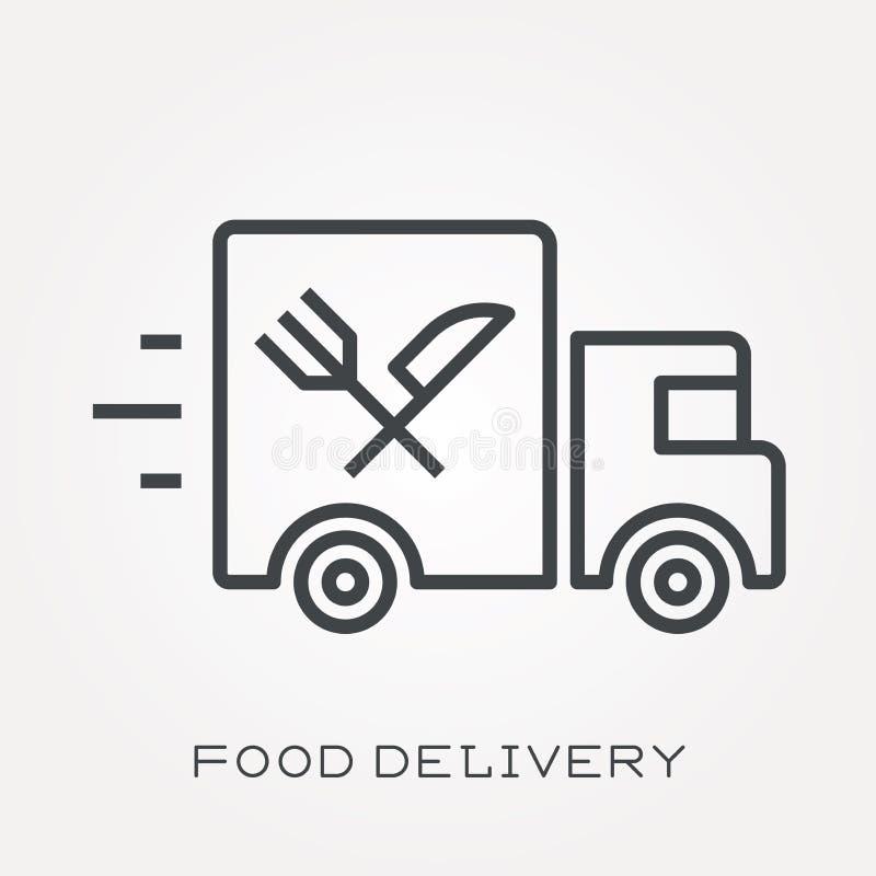 Iconos planos del vector con entrega de la comida ilustración del vector