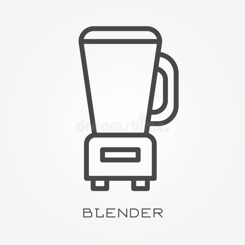 Iconos planos del vector con la licuadora stock de ilustración