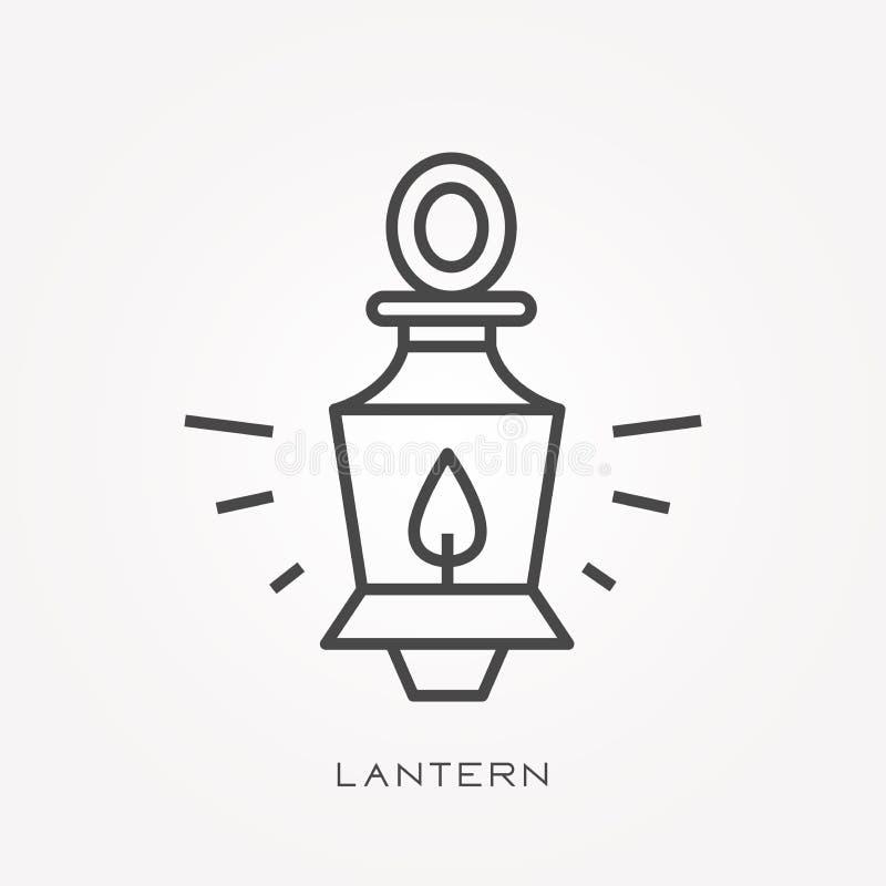 Iconos planos del vector con la linterna ilustración del vector