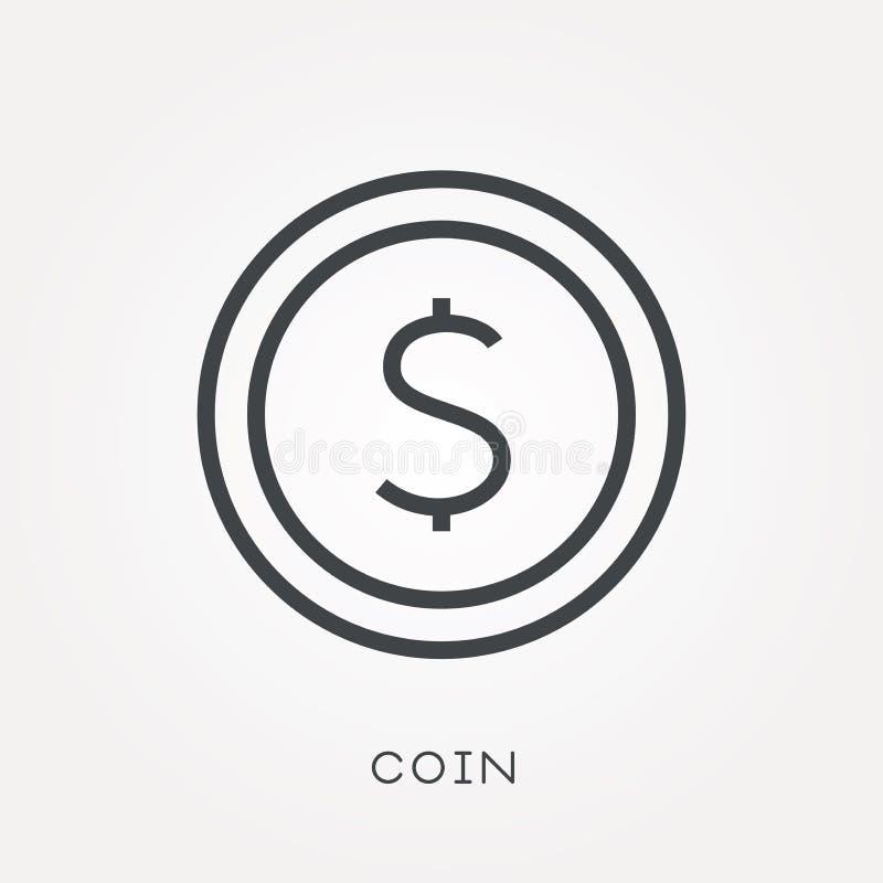 Iconos planos del vector con la moneda ilustración del vector