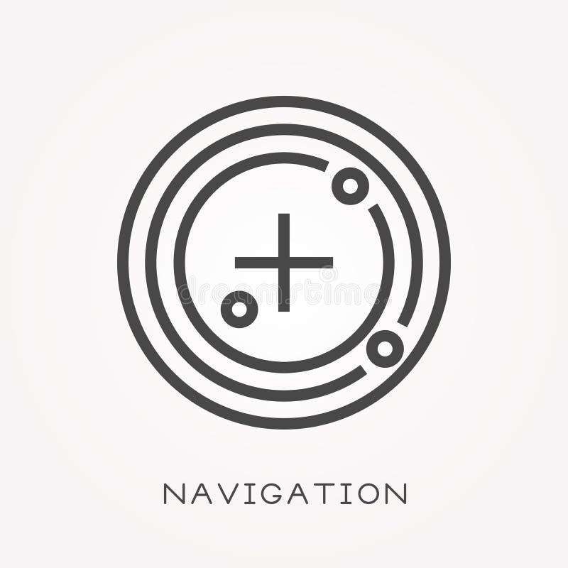 Iconos planos del vector con la navegación ilustración del vector