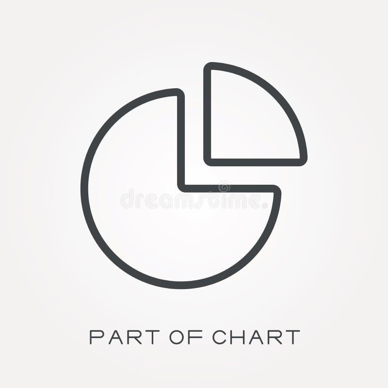 Iconos planos del vector con la parte de la carta libre illustration