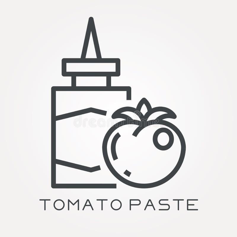 Iconos planos del vector con la pasta de tomate stock de ilustración