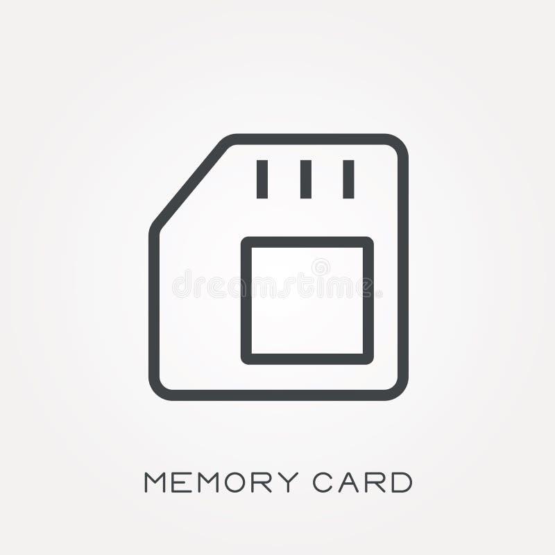Iconos planos del vector con la tarjeta de memoria stock de ilustración