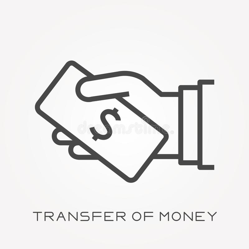 Iconos planos del vector con la transferencia del dinero libre illustration