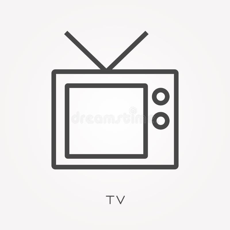 Iconos planos del vector con la TV ilustración del vector
