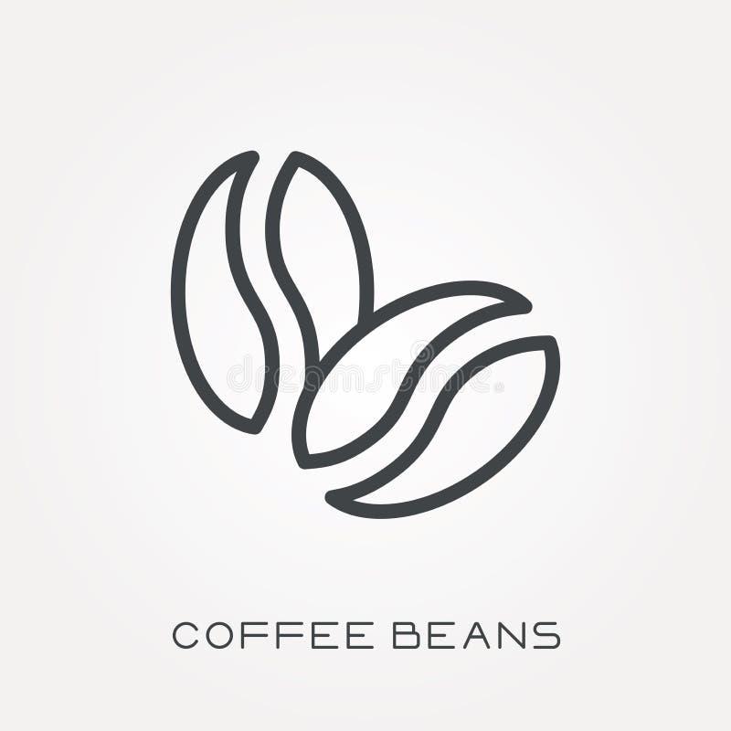Iconos planos del vector con los granos de café stock de ilustración