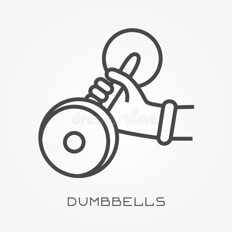 Iconos planos del vector con pesas de gimnasia ilustración del vector