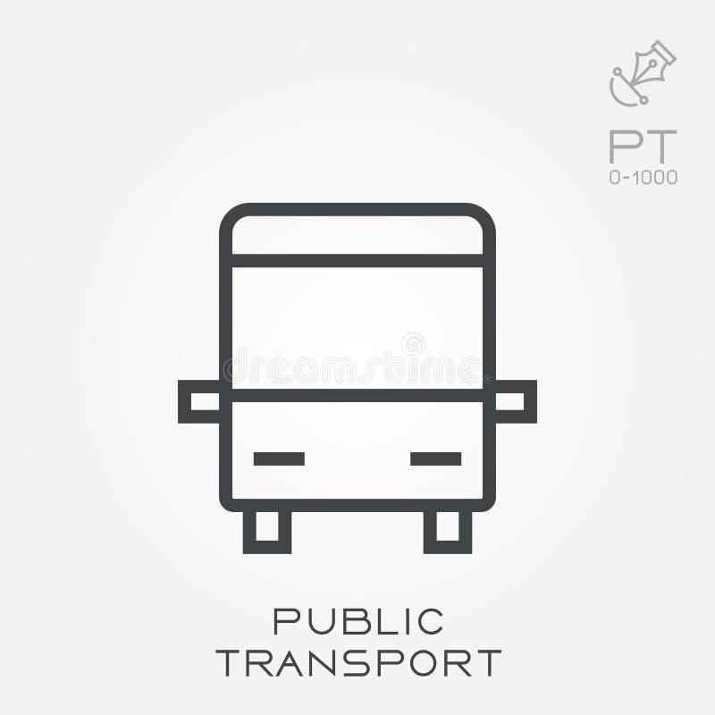Iconos planos del vector con transporte público ilustración del vector