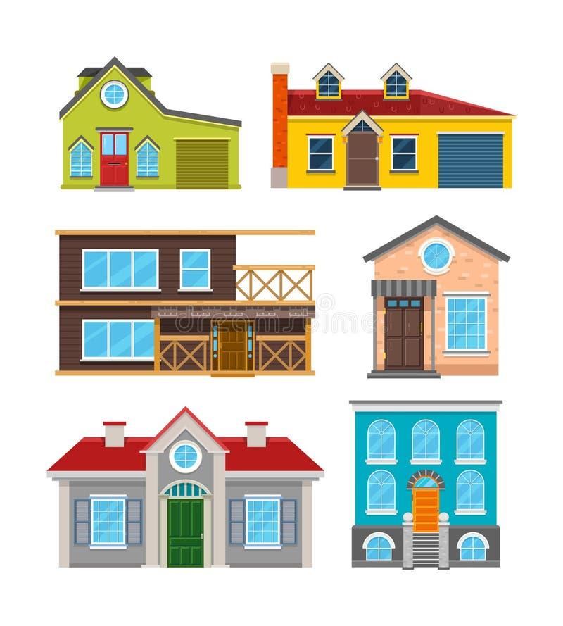 Iconos planos del vector de la casa de la cabaña libre illustration