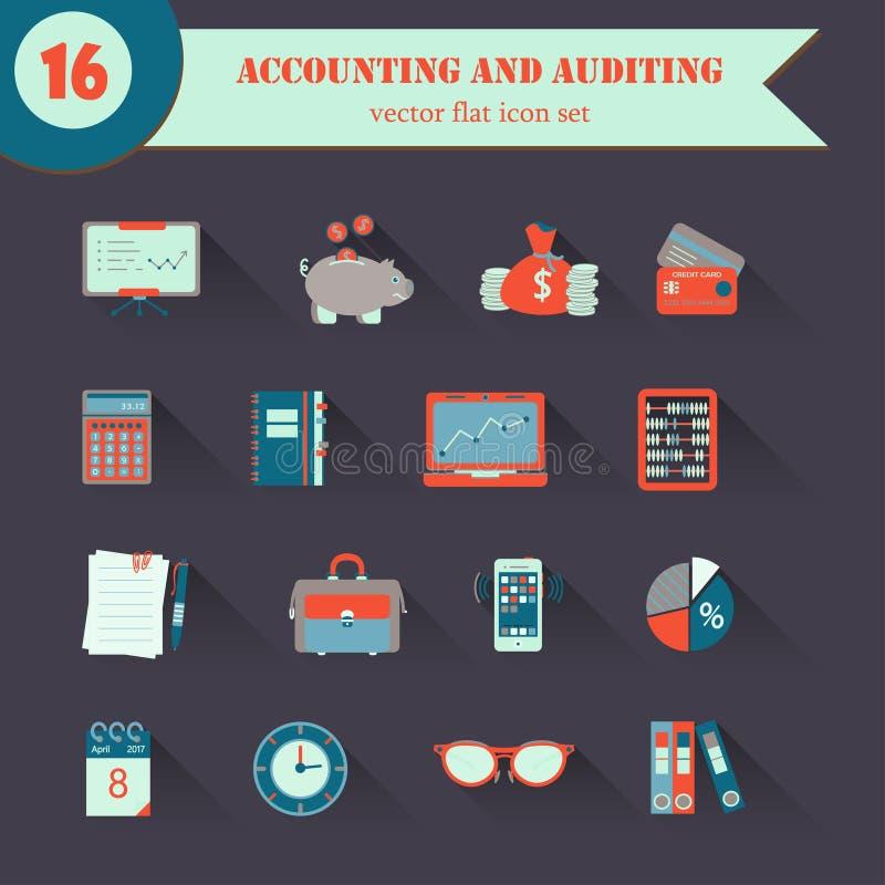 Iconos planos del vector de la contabilidad libre illustration
